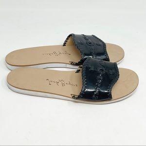 JACK ROGERS Black Patent SANIBEL Slide Sandals